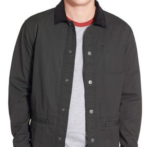 RVCA dark green grey button jacket corduroy collar